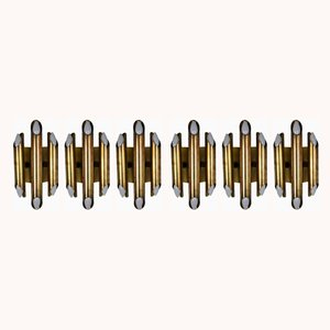 Mid-Century Brass Wall Lamps, Set of 7