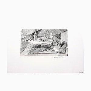Aguafuerte de paisaje cubista de Jacques Villon, años 50