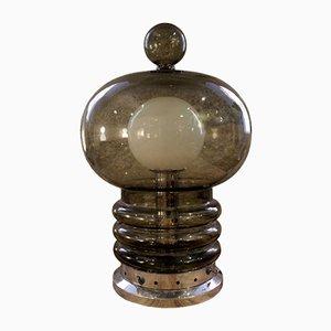 Lámpara de mesa vintage de cristal ahumado, años 70