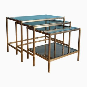 Vintage French Brass Nesting Tables, 1960s