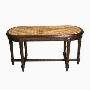 Vintage Louis XVI Style Carved Walnut & Cane Bench