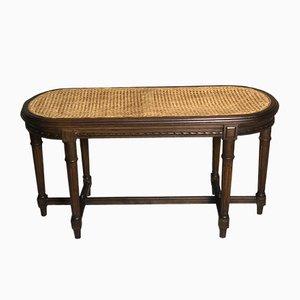 Vintage Sitzbank aus geschnitztem Nussholz & Schilfrohr im Louis XVI Stil