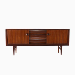 Rosewood & Zebrawood Sideboard with Sliding Doors, 1960s