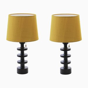 Vintage Scandinavian Wood & Silk Table Lamps by Uno & Östen Kristiansson for Luxus, 1960s, Set of 2