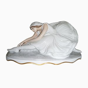 Model 505 Porcelain Sterbender Schwan Figure from Rosenthal, 1920s