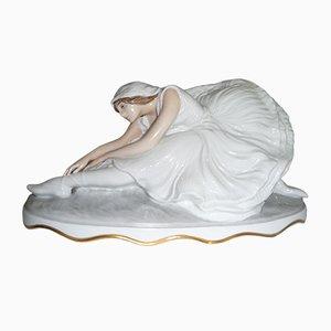 Statue Schwan Sterbender Modèle 505 en Porcelaine de Rosenthal, années 20