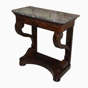 Mesa consola antigua de chapa de caoba y mármol