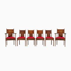 Niederländische Art Déco Esszimmerstühle mit Gestell aus Eiche von H. Fels für L.O.V. Oosterbeek, 1920er, 6er Set