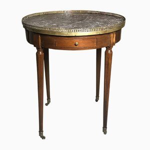Antique Louis XVI Style Wood & Marble Drum Table