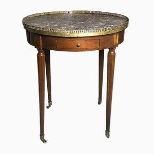 Mesa tambor estilo Louis XVI antigua de madera y mármol
