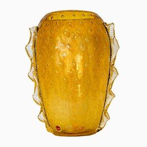 Jarrón vintage de cristal de Murano ámbar de Seguso