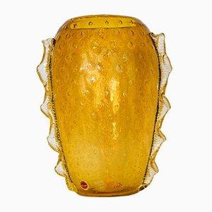 Bernsteinfarbene Vintage Vase aus Muranoglas von Seguso