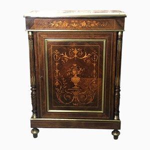 Antique Napoleon III Marquetry Wood Veneer & Marble Cabinet