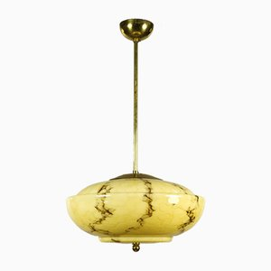 Art Deco Marbled Glass Ceiling Lamp, 1930s