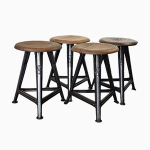 Vintage Industrial Stools by Robert Wagner for Rowac, 1930s, Set of 4