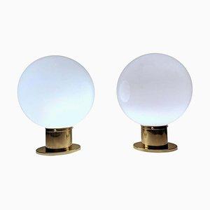 Lámparas de mesa de latón y vidrio opalino, años 70. Juego de 2