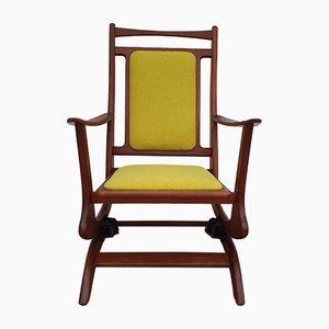 Rocking Chair Vintage en Teck Massif & Laine, années 60