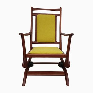 Vintage Solid Teak & Wool Rocking Chair, 1960s