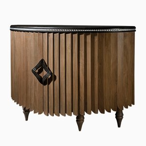 Black Lacquer & Ebony Demi-Lune Sideboard by Jacobo Ventura