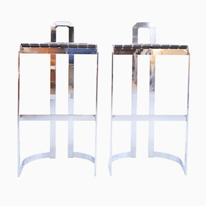 Vintage Flat Steel Bar Stool, Set of 2
