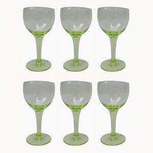 Antikes französisches Gläser Set aus Uranglas, 6er Set