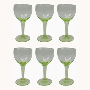 Antique French Uranium Glasses Set, Set of 6