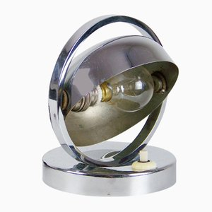 Lámpara de mesa vintage de metal cromado, años 20