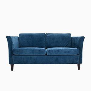 Mid-Century Danish Teal Velvet 2-Seater Sofa, 1970s
