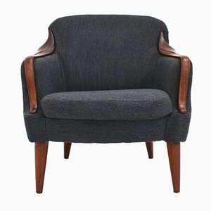 Mid-Century Danish Charcoal Wool & Teak Lounge Chair, 1960s