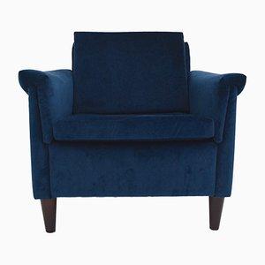 Sillón Club danés Mid-Century de terciopelo azul, años 70