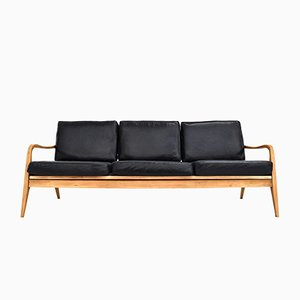 Mid-Century Danish Black Leather & Beech 3-Seater Sofa, 1960s