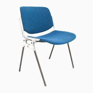 Italian DSC106 Blue Wool & Metal Stacking Chair by Giancarlo Piretti for Castelli, 1960s