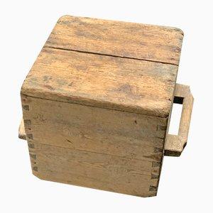 Taburete sueco antiguo de madera patinada, década de 1800