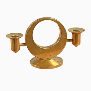 Vintage Swedish Brass Double Candleholder by Arthur Pettersson, 1960s