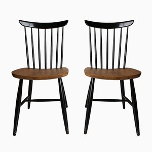 Spindle Back Dining Chairs, 1950s, Set of 2
