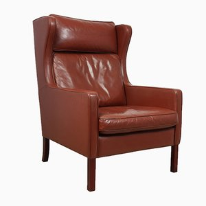 Mid-Century Danish Leather Wing Chair from Stouby, 1970s
