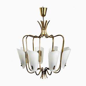 Large Mid-Century Brass & Plexiglas 8-Arm Chandelier, 1950s