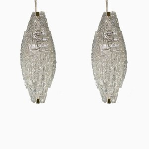 Vintage Textured Glass Wall Lamps by J. T. Kalmar, 1950s, Set of 2