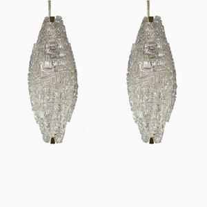 Vintage Wandlampen aus Strukturglas von J.T. Kalmar, 1950er, 2er Set