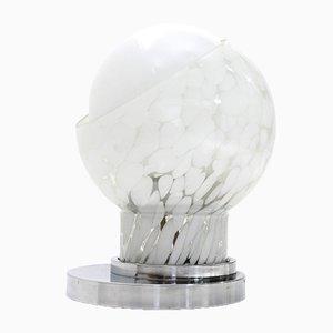 Lámpara de mesa italiana Mid-Century de vidrio con doble difusor, años 70