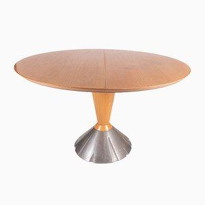 Mesa de comedor plegable chapada, años 80