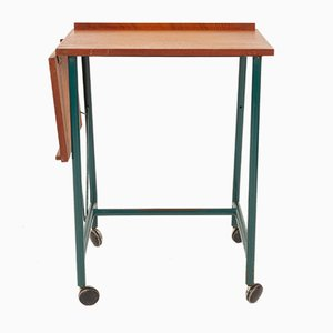 Danish Teak & Green Metal Side Table, 1960s