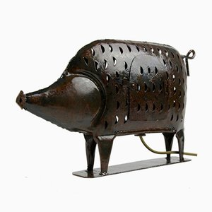 Black Metal Pig Shaped Table Lamp, 1970s