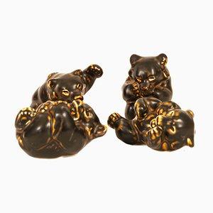 Figuras Bear Cub danesas de Knud Kyhn para Royal Copenhagen, años 50. Juego de 4