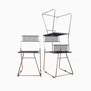 Vintage Esszimmerstühle aus Stahldraht, 1950er, 3er Set