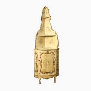 Mueble esquinero italiano de madera pintada y dorada, años 60