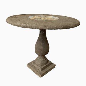 Table de Jardin Ancienne en Pierre avec Médaillon Central