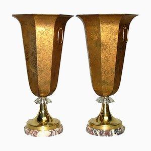 Lampade da tavolo in ottone e marmo, anni '20, set di 2