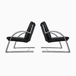 Dutch Black Leather Armchairs by Gerard van den Berg for Rohé Noordwolde, 1980s, Set of 2