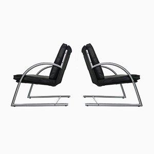Niederländische Sessel mit schwarzem Lederpolster von Gerard van den Berg für Rohé Noordwolde, 1980er, 2er Set